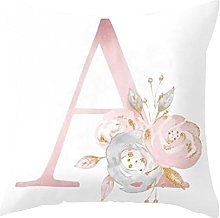 dontdo English Alphabet Floral Print Pillow Case