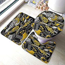 Doodle Bathmat,Abstract Doodle with Shoes Spray