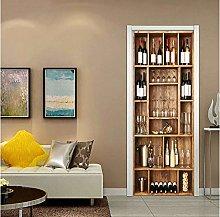 Door decal wallpaper, Wine Cabinet Door Stickers