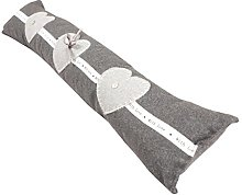 Pink 85 x 12 cm L3C Bonheur Door Draught Excluder//Draft Stopper with Embroidery