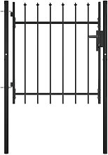 Door Fence Gate with Spear Top 100x75 cm - Black -