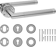 Door Handle Set with PZ Profile Cylinder Stainless