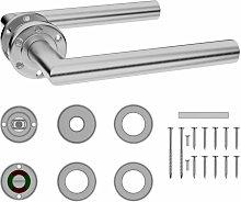 Door Handle Set with WC Lock Stainless Steel
