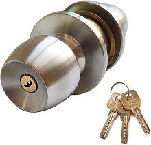 Door Knob Lockset with 3 Keys Round Ball Style