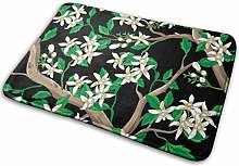 Door Mat,Floral with White Flowers Stain-Resistant