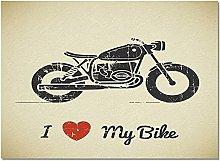 Door Mat Welcome Mat Motorcycle With I Love My