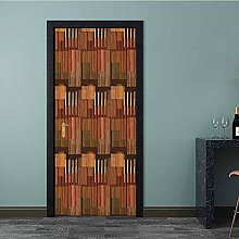Door Wallpaper Geometric Pattern with Stripes