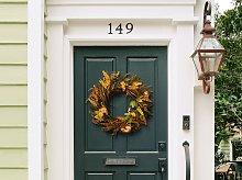 Door Wreath Orange and Green Handmade Decorative