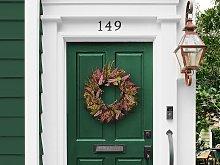 Door Wreath Pink and Green Artificial Flower