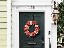 Door Wreath Red and Pink Handmade Decorative