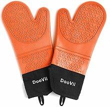 DooVii Silicone Oven Mitts (Orange),1 Pair of