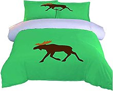 DOPGAY Duvet Cover Sets Double Bed Green Animal