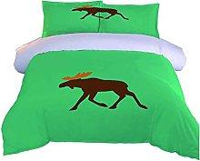 DOPGAY Duvet Cover Sets King Bed Green Animal Elk