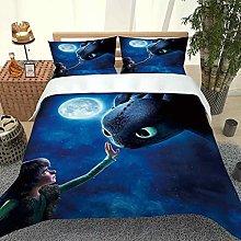 DOPGAY Single Duvet Covers Set Blue Starry Animal