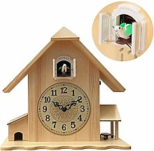 DORALO Cuckoo Clock with Bird Voices,Solid Wood