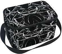 DOSHINE Abstract Marble Black Lunch Box Bag,
