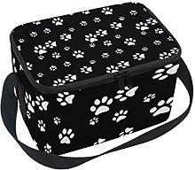 DOSHINE Animal Dog Cat Paw Print Black White Lunch