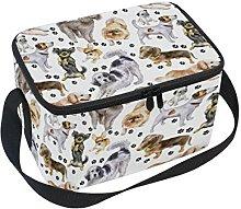 DOSHINE Cute Animal Dog Paw Print Lunch Box Bag,
