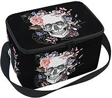 DOSHINE Halloween Floral Sugar Skull Lunch Box