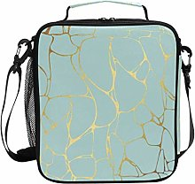 DOSHINE Insulated Lunch Bag Gold Blue Marble