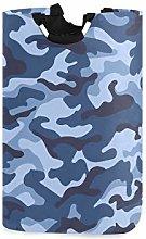 DOSHINE Laundry Basket, Blue Camo Camouflage Large