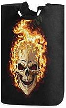 DOSHINE Laundry Basket, Burning Skull Halloween