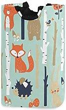 DOSHINE Laundry Basket, Cartoon Animals Fox Bear