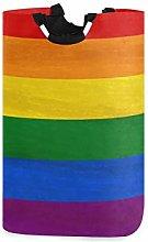 DOSHINE Laundry Basket, Colorful Rainbow Stripe