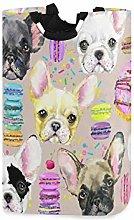 DOSHINE Laundry Basket, French Bulldog Watercolor