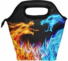 DOSHINE Lunch Bag Box Abstract Fiery Dragons