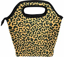 DOSHINE Lunch Bag Box Animal Tiger Leopard Print,
