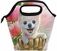 DOSHINE Lunch Bag Box Floral Flower Dog Art,