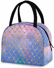 DOSHINE Reusable Lunch Bag, Gold Sea Ocean Mermaid
