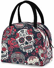 DOSHINE Reusable Lunch Bag, Halloween Sugar Skull