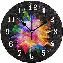 DOSHINE Wall Clock, Abstract Art Rainbow Silent