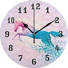 DOSHINE Wall Clock, Abstract Geometric Rainbow