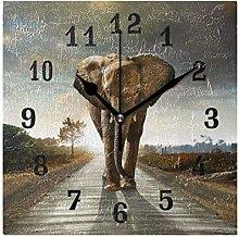 DOSHINE Wall Clock, African Animal Elephant Silent