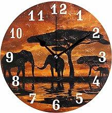 DOSHINE Wall Clock, African Animal Elephant Tree