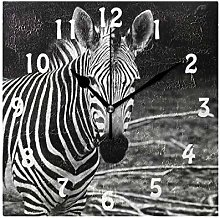 DOSHINE Wall Clock, African Animal Zebra Silent