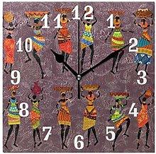 DOSHINE Wall Clock, African Tribal Women Silent