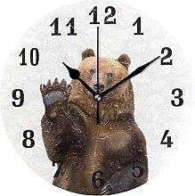 DOSHINE Wall Clock, Animal Brown Bear Hello Silent