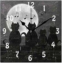 DOSHINE Wall Clock, Animal Cat Music Notes Moon