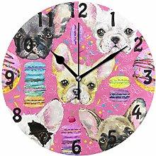 DOSHINE Wall Clock, Animal Dog French Bulldog