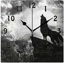 DOSHINE Wall Clock, Animal Howling Wolf Moon