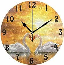 DOSHINE Wall Clock, Animal Swan Love Heart Sunset