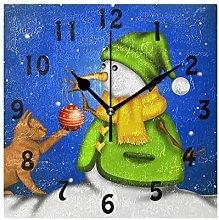 DOSHINE Wall Clock, Christmas Snowman Cat Winter