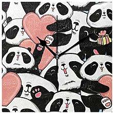 DOSHINE Wall Clock, Cute Panda Love Heart Pattern