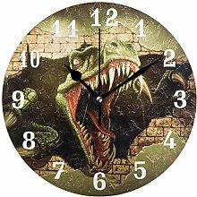 DOSHINE Wall Clock, Dinosaur African Animal Silent
