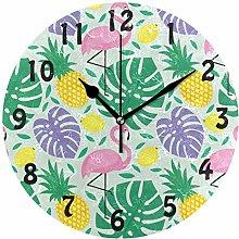 DOSHINE Wall Clock, Flamingo Tropical Palm Leaves