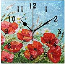 DOSHINE Wall Clock, Floral Flower Poppy Art Silent
